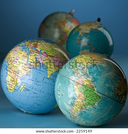 four globes - stock photo