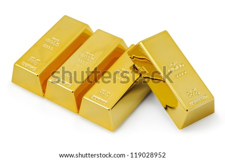 Four gold bars. - stock photo