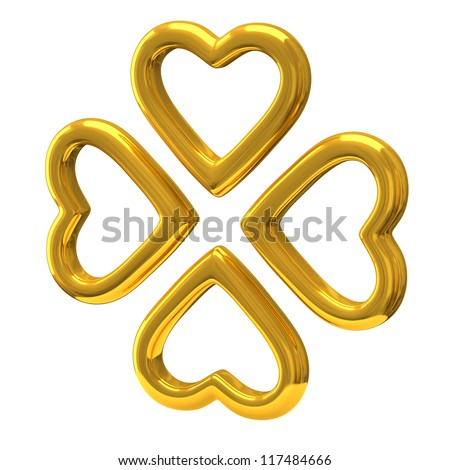 Four golden hearts as four-leaf clover 3d - symbol of luck and love - stock photo