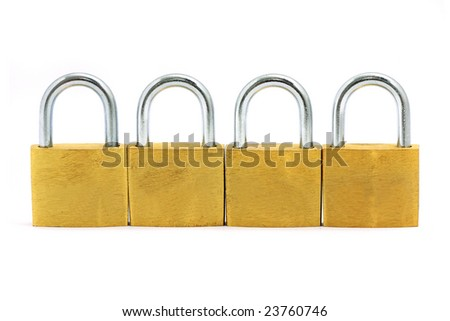 Four golden locks put side by side over white background.