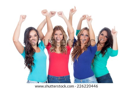 Four good friends dancing isolated on a white background - stock photo