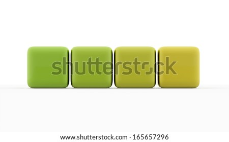 Four green cubes concept isolated on white background - stock photo