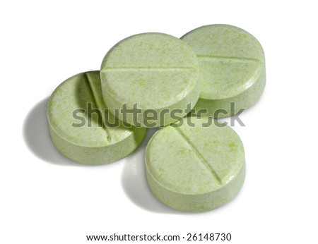 Four green medicine pills, from my medical pills series