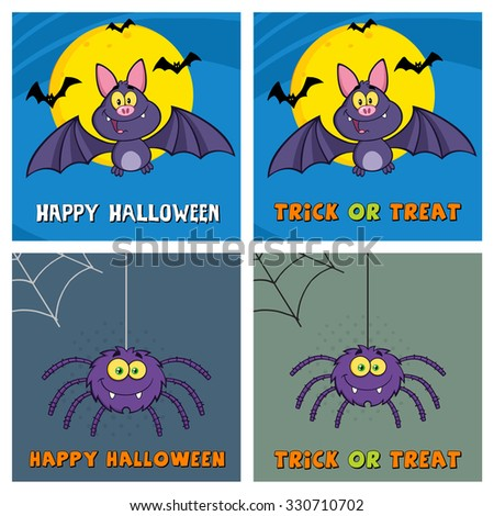 Four Halloween Greeting Cards. Raster Collection Set - stock photo