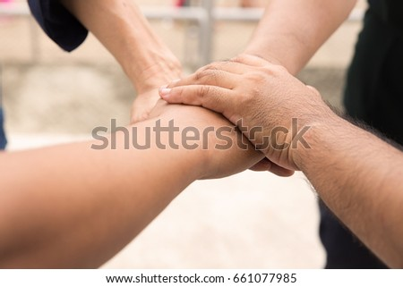 Four Hands Hold Together Like Square Stock Photo Royalty Free