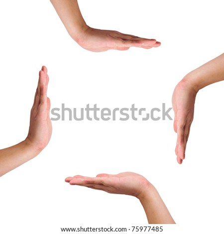 Four hands isolated on white created a copy space in the middle - stock photo