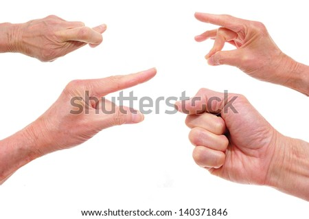four hands talking in sign language. isolated white background