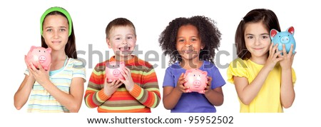 Four happy children with moneybox savings isolated over white - stock photo