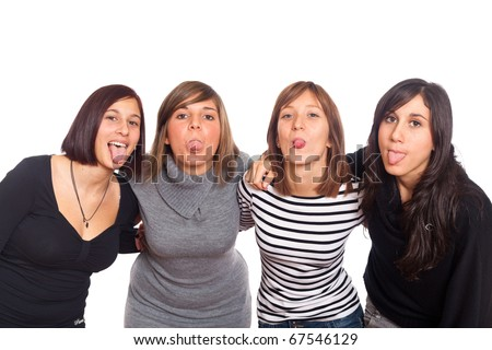 Four Happy Girls Grimacing with Tongue Out