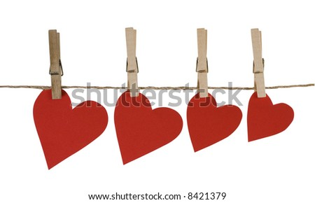 Four heart dry on clothes-line