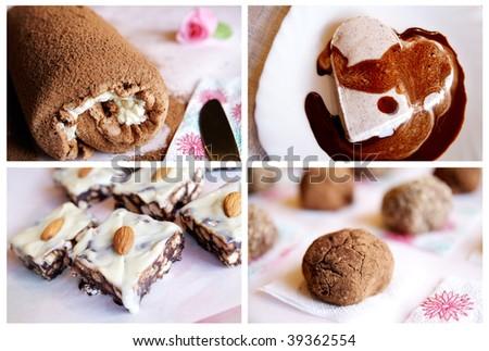 Four homemade chocolate desserts - Swiss roll, ice-cream, truffle and cookies - stock photo