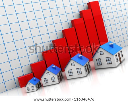 Four houses with red roofs with graph - stock photo