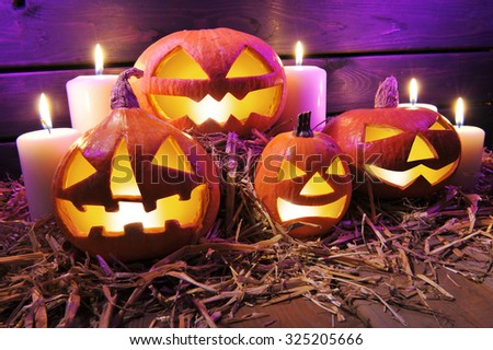 four illuminated halloween pumpkins on straw in front of old weathered wooden board in crazy violet halloween light  - stock photo