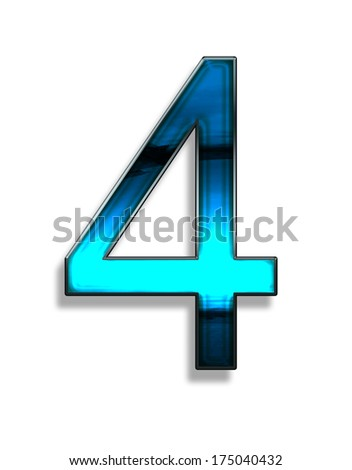four, illustration of  number with blue chrome effects on white background - stock photo