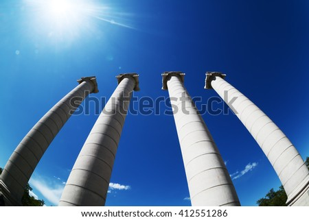 Four ionic columns in the city center of Barcelona near montjuic (les quatre columnes in spanish) - stock photo