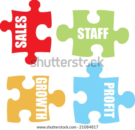 Four jigsaw pieces in pastel colors showing business metaphor for communication - stock photo