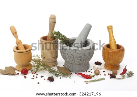 Four kinds mortars close up over white - stock photo