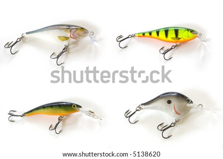 four kinds of lures - stock photo