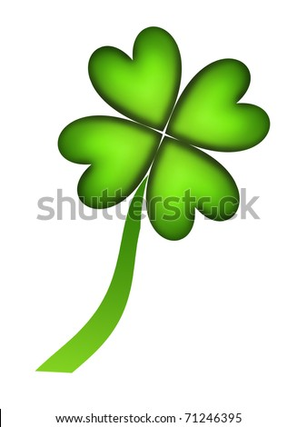 Four leaf clover representing good fortune over white background - stock photo