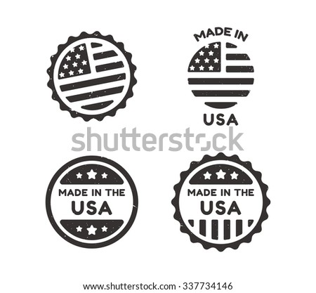 Four Made in USA labels with distressed vintage texture isolated on white background. - stock photo