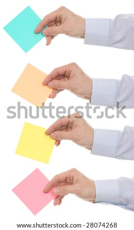 Four man's hands with an empty piece of a paper for your text. (Reminder). Isolated on white.
