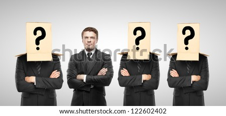 four man with box on hand, business concept - stock photo