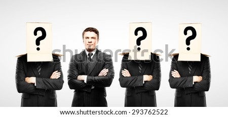 four man with box on hand, close up - stock photo
