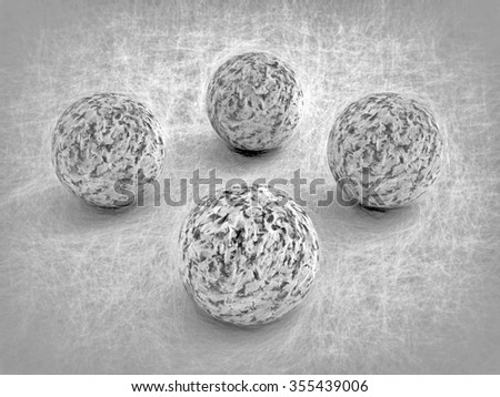 four marble stones drawing style  - rendered 3D Illustration - stock photo