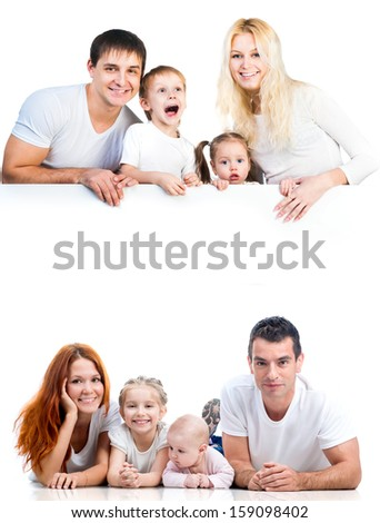 four members family near the white banner - stock photo