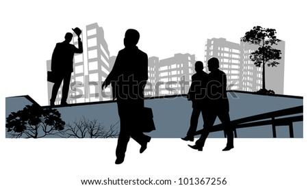 four men go to work in front of skyscrapers