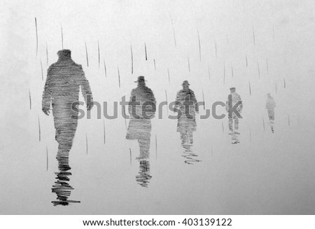 four men in the rain receding into the distance - stock photo