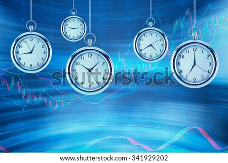 Four models of pocket watches are hovering in the air over financial graphs background. A concept of a value of time in financial markets. Forex chart. 3D rendering. - stock photo