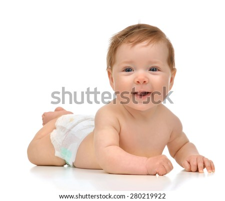 Four month Infant child baby girl in diaper lying happy smiling on a white background - stock photo