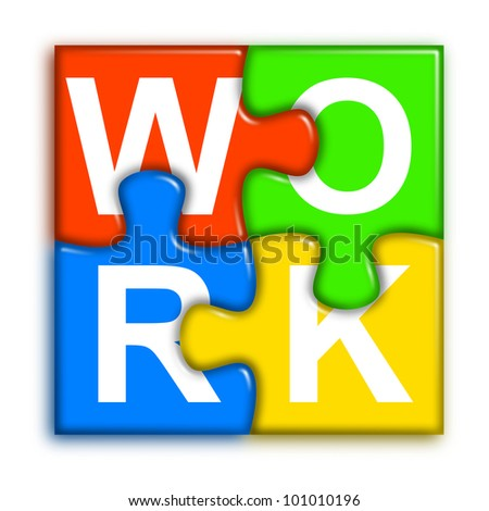 four multi-color puzzle pieces combined representing work concept - stock photo