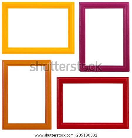 Four multicolored wooden picture frames on white background - stock photo