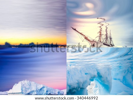Four natural polar landscapes reflected in water