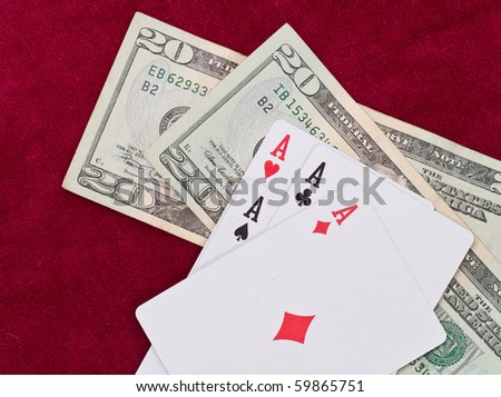 Four of a Kind Aces with Money - stock photo