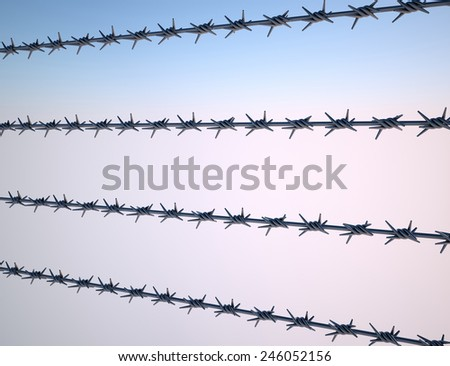 Four of barbed wire isolated on white background - stock photo