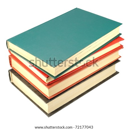 four old books stack isolated - stock photo