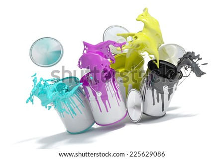Four paint cans splashing CMYK colors for printing concept (3D Rendering) - stock photo