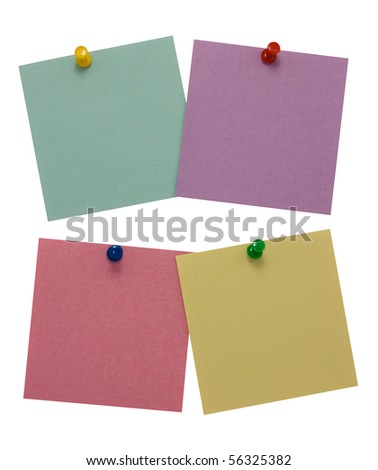 Four paper for notes  isolated on white background - stock photo