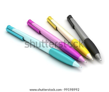 Four pens on a white background. A set of CMYK color