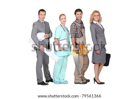 Four people and their different occupations - stock photo