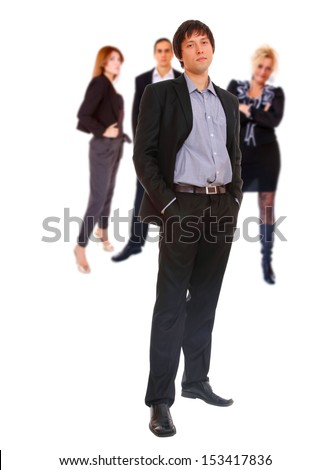 Four people Business team at the office building - stock photo