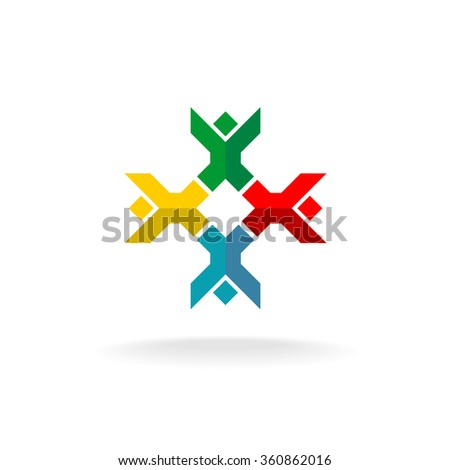 Four people in a round logo. Colorful geometric flat style symbol. - stock photo