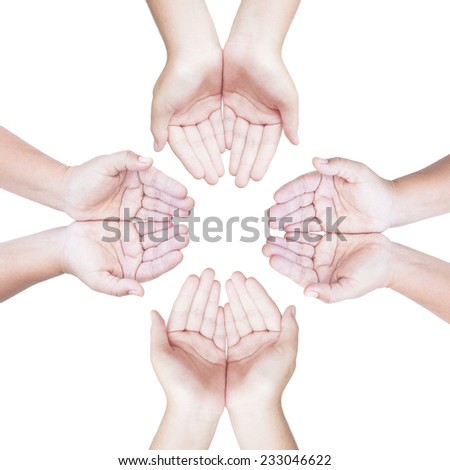 Four people open empty hands with palms up over white isolated. International Volunteers Day, International Human Solidarity Day, World Cancer, We Can, I Can concept. - stock photo