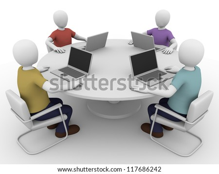 Four people sitting in a business meeting with notebooks.