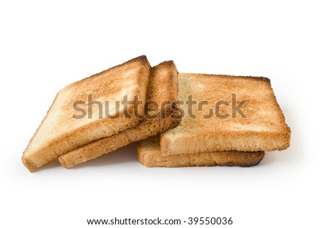 Four pieces of the fried bread isolated on a white background