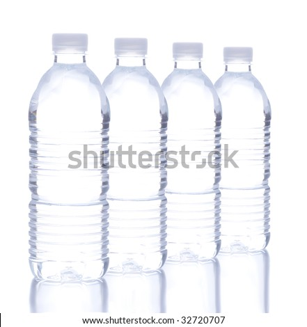 Four Plastic Water Bottle in a row over white with reflections