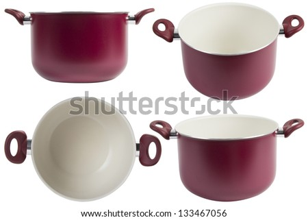 four point of view of Red pot, Isolated on white background - stock photo